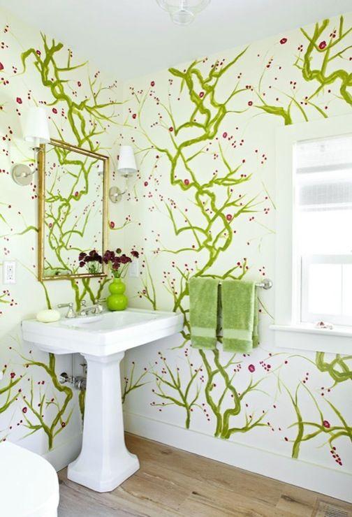 Bathrooms   Elizabeth Hargraves Glossy White Pedestal Sink Gold Leaf  Beveled Mirror Green Double Gourd Vase Maureen Footer   Fun Bathroom With