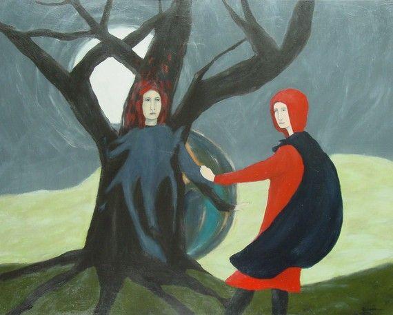 elizabeth bauman - pulling a dance partner from a favorite tree