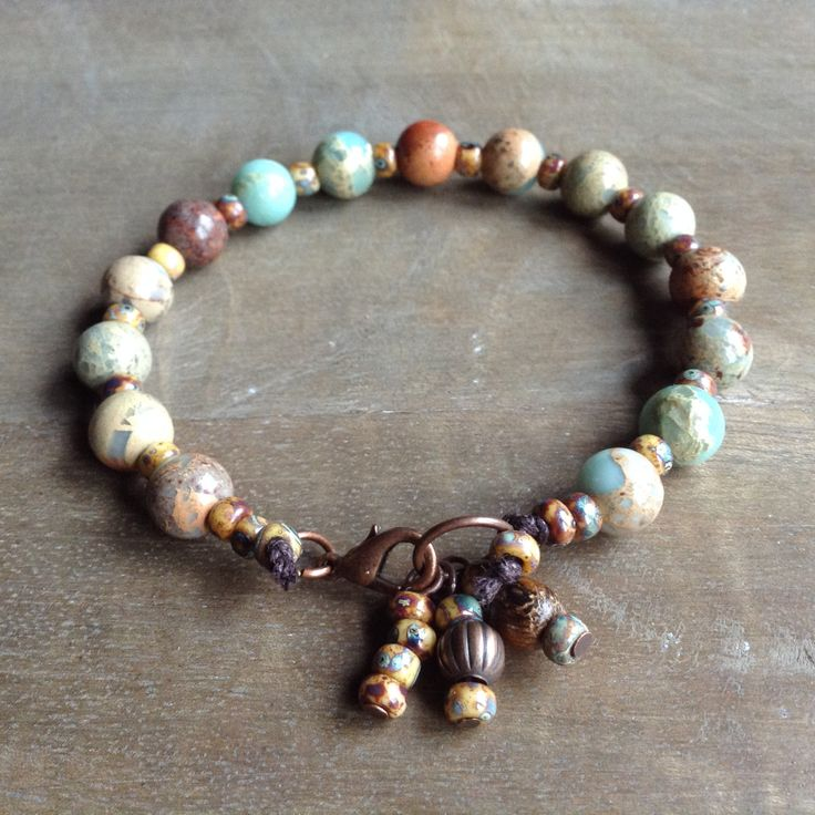 Impression Jasper bohemian bracelet boho chic beaded western bracelet hippie bracelet rustic western jewelry rustic bracelet womens jewelry by Auntelisabeth on Etsy
