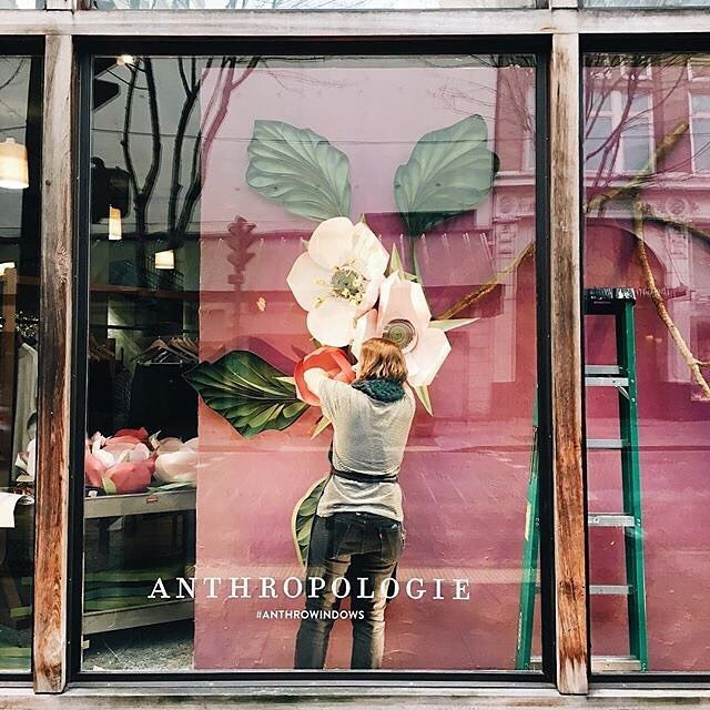 When winter thaws, our store windows will be bright and blooming and ready. #thinkspring #anthrowindows #regram @anthro_downtownseattle
