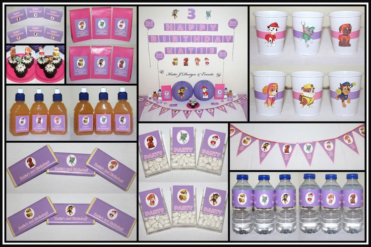 #Paw #Patrol #Girls #Pink #Purple #Birthday #Bunting #Party #Decorations #Ideas #Banners #Cupcakes #WallDisplay #PopTop #JuiceLabels #PartyBags #Invites #KatieJDesignAndEvents #Personalised #Creative