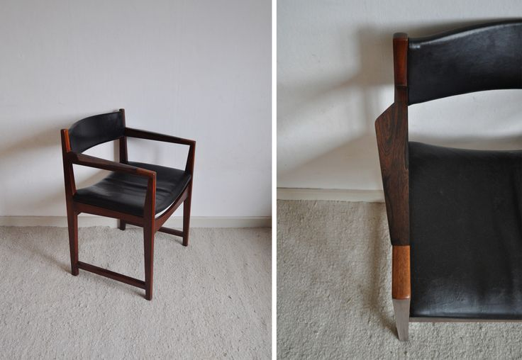 Armchair model 370 designed by Peter Hvidt & Orla Mølgaard-Nielsen made of solid teak wood, armrest inlaid with rosewood, seat and headpiece upholstered with black leather. Manufactured by Søborg Møbler, 1959. Age-related traces of use.