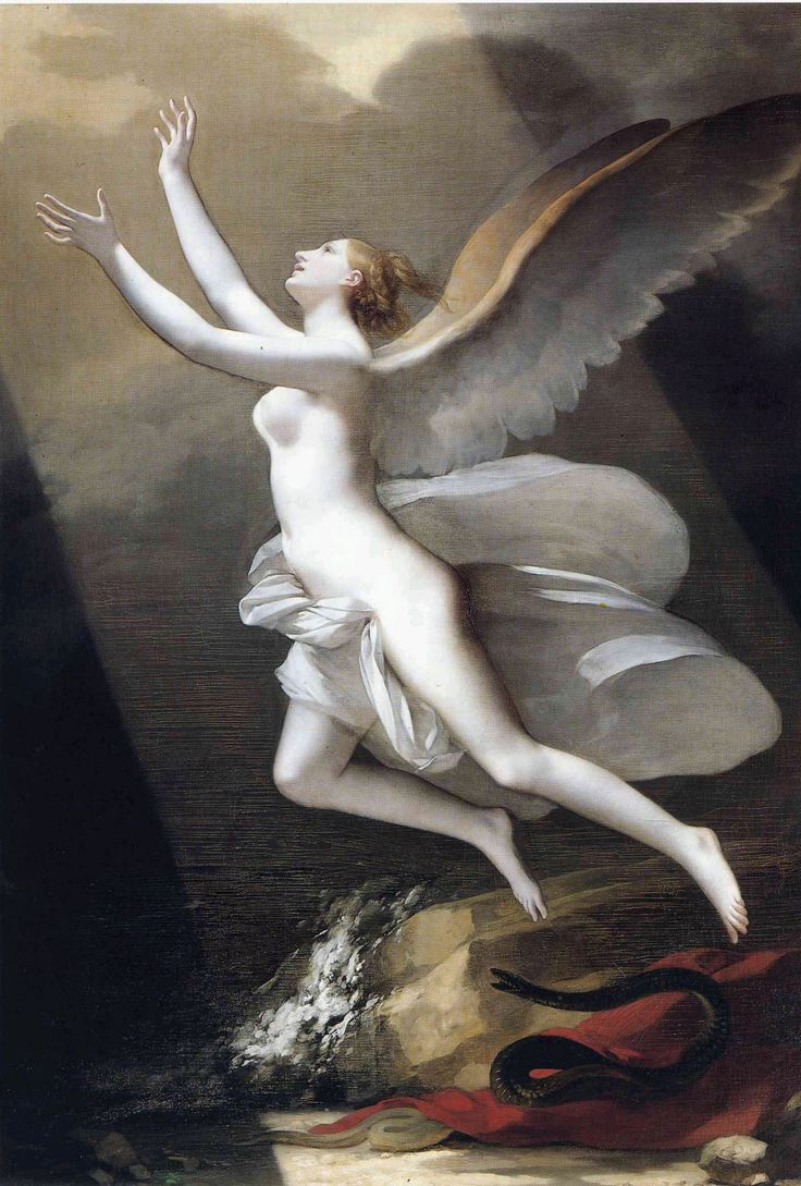 Soir Charmant  L'âme brisant les liens qui l'attachent à la terre  (The soul breaking the bonds that attach to the earth)  Pierre-Paul Prud'hon, 1758-1823  oil on canvas