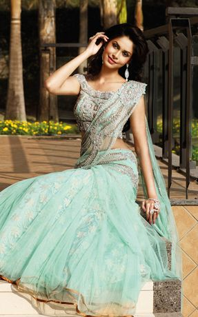 Sea Green #Lehenga #Saree.