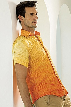 Irish Linen shaded digital print shirt.