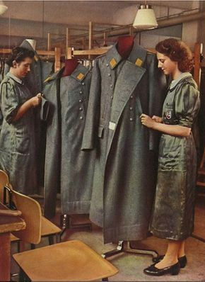 My mother-in-law Gerda Kernchen sewed uniforms for the Luftwaffe when she was a teenager in Berlin. This is a German uniform factory operated by Peek & Cloppenburg, a well-known department store in Berlin. Gerda said this is similar to the factory where she worked. (Photo Credit: Uniformen und Soldaten, by Curt Ehrlich, 1942).