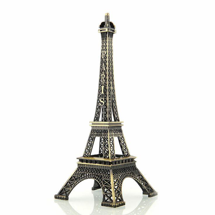 25cm Bronze Paris Eiffel Tower Figurine Sculpture Model Home Decors Souvenir