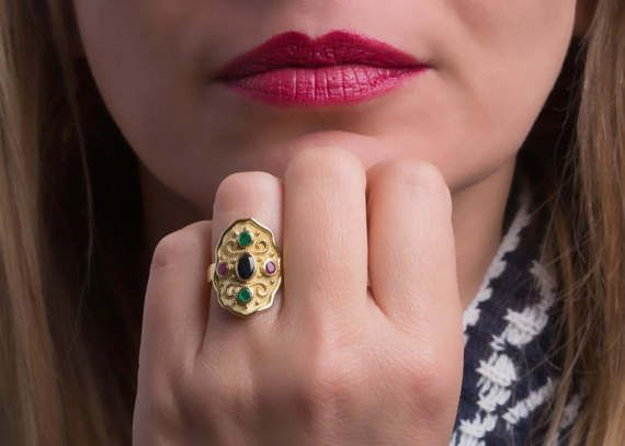 Byzantine Ring, Etruscan Ring, Handmade and hand gold cast, Gold etruscan ring, sapphire, emerald gemstones and ruby ring. Goldsmith workshop made. Solid gold 14k, yellow, rose or white gold. Byzantine Gold Ring.