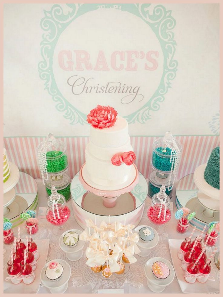 87 best baptism decorations images on pinterest baptism for Baby girl christening decoration ideas