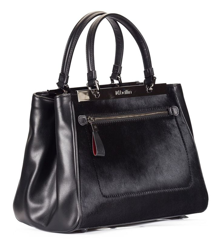 Ballin Black nappa leather pony-hair front panel top-handle tote style bag | Fratelli Karida Shoes