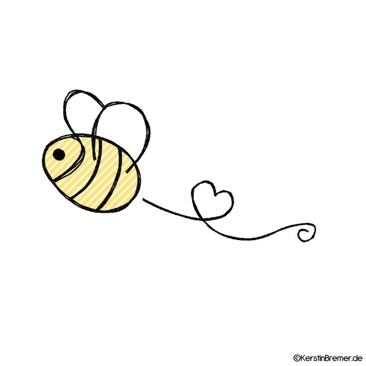 Bee with heart doodle embroidery file