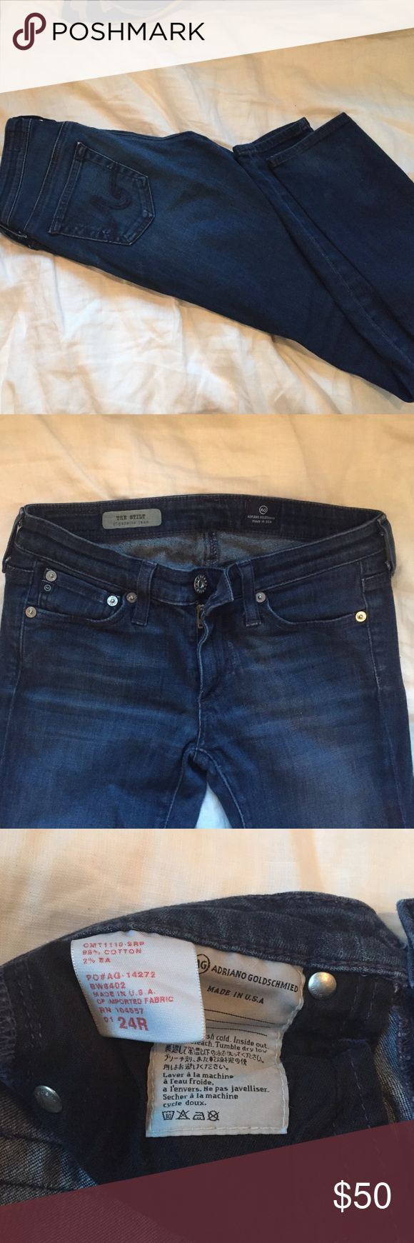 AG Adriano Goldschmied Stilt Cigarette Jeans 24R In perfect condition! Just too small for me. Navy blue AG Adriano Goldschmied Jeans Straight Leg