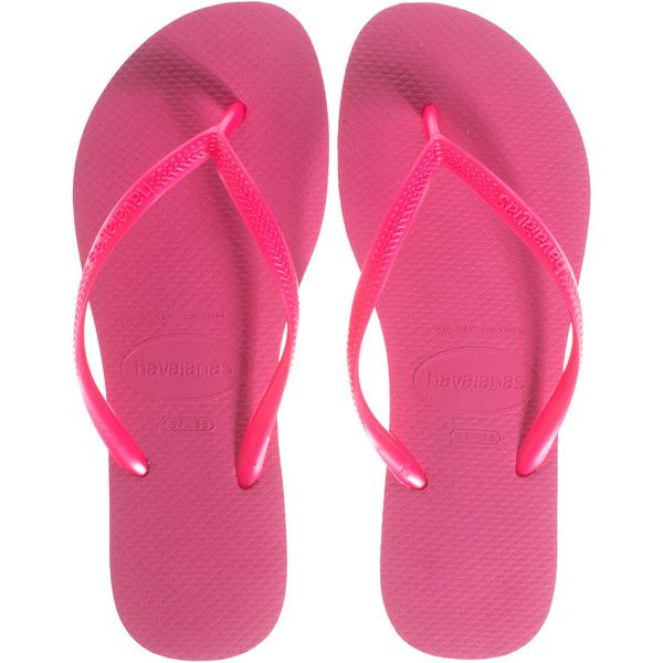 HAVAIANAS Slim Pink // Rubber thong sandals ($28) ❤ liked on Polyvore featuring shoes, sandals, flip flops, beach flip flops, beach sandals, rubber sandals, toe thongs and pink shoes