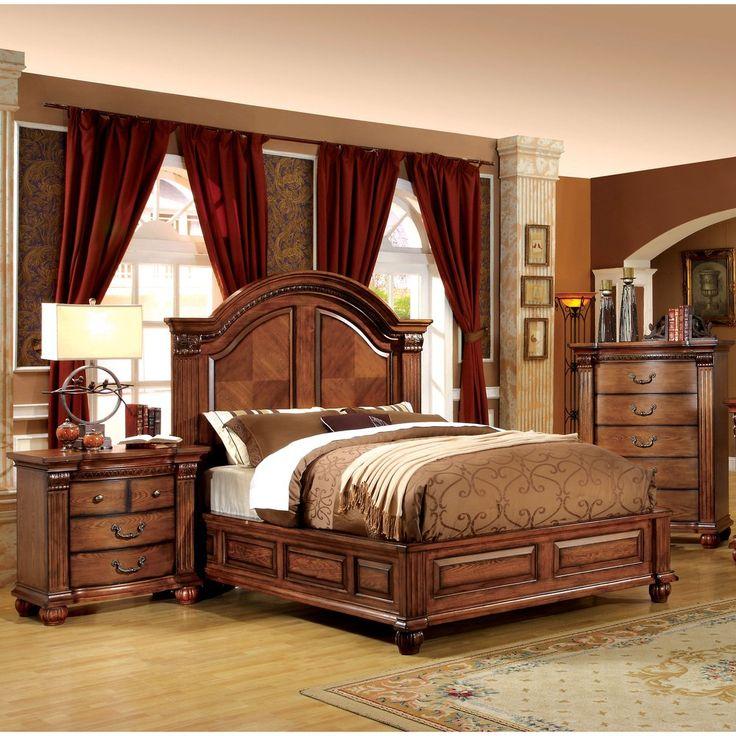 furniture of america heb traditional oak 2piece bedroom