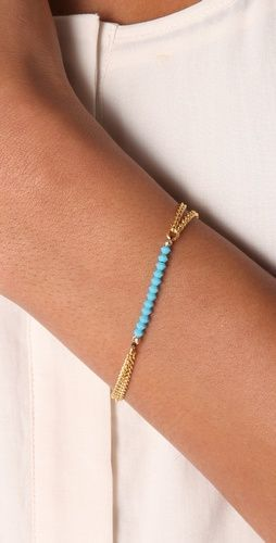 Beautiful thin turquoise and gold bracelet