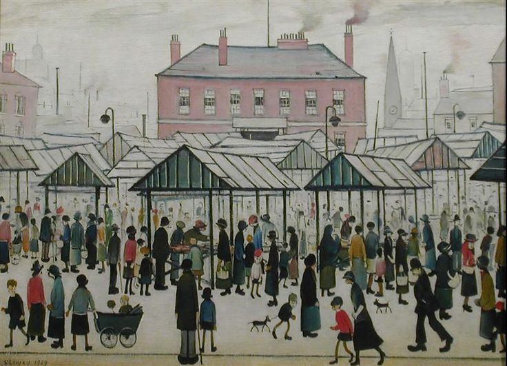 L S Lowry.  Market Scene, Northern Town.