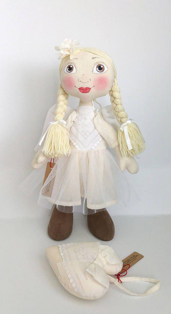 Angel doll Handmade Fabric Doll Soft Doll Unique Doll