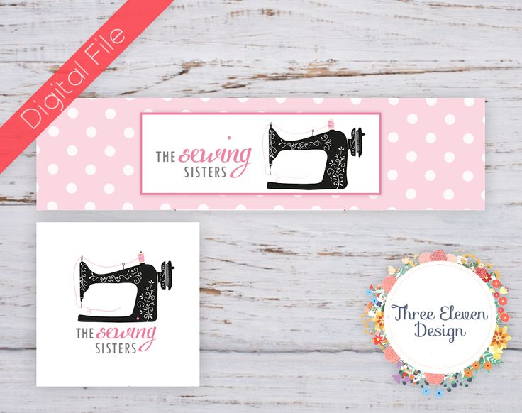 Pink Polka Dot Sewing Etsy Shop Branding