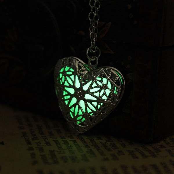 Steampunk Glow In The Dark Luminous Locket Heart Pendant Necklace