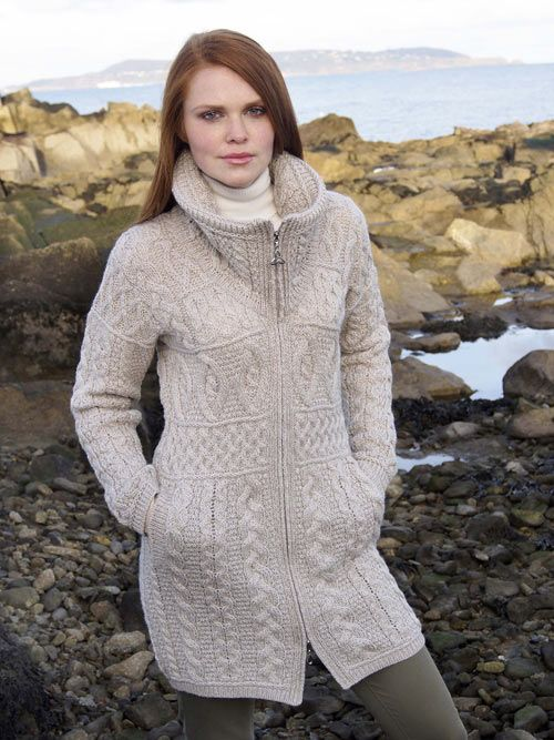 One of our most popular modern Aran Style knitted coats in 100% Merino Wool…