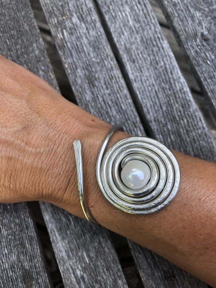 Silver Jewelry/Silver Hammered Bracelet Cuff with Pearl Stone/LydiaZ/Wired Wrapped Jewelry/Hippie/Boho/Unique Silver Bracelet
