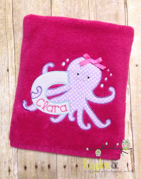 monogrammed beach towel octopus applique towel - Monogrammed Beach Towels