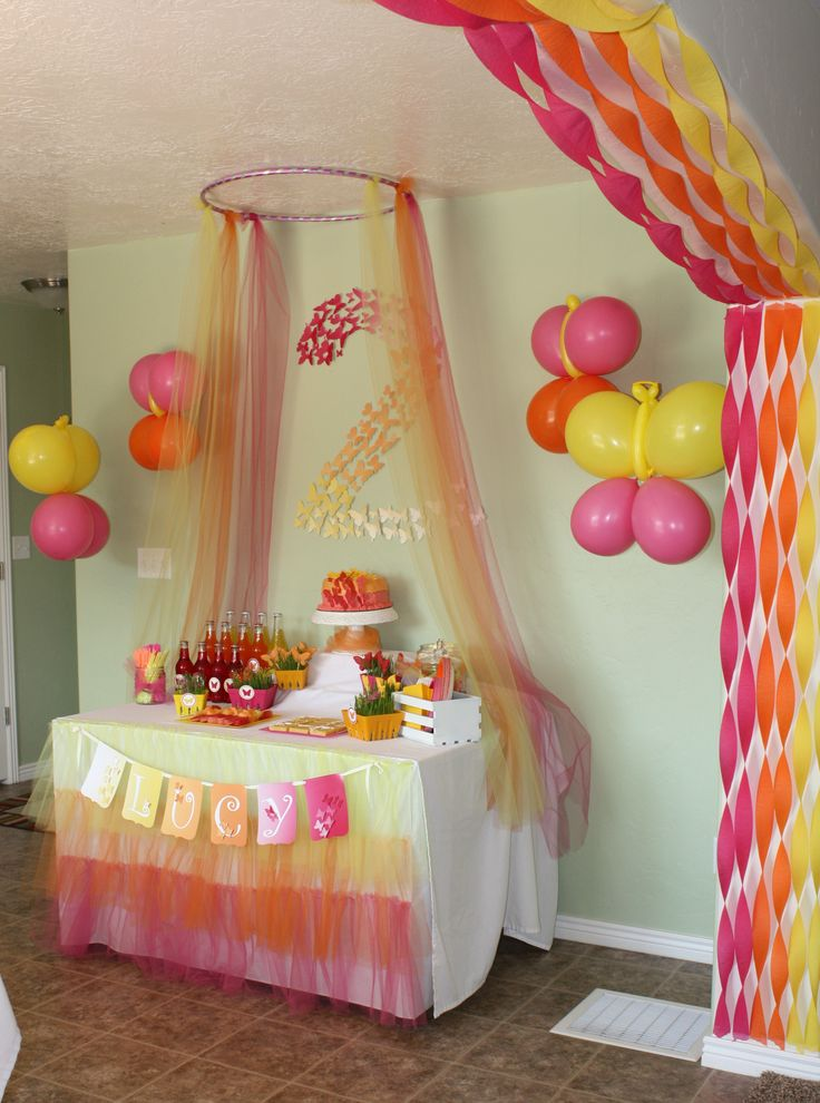 Love the use of tulle and hula hoop. Great idea for crepe paper over the arch. And the cute butterfly cut outs in the #2.