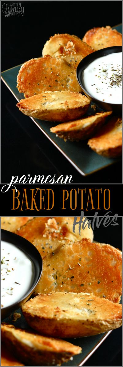 I love these Parmesan Baked Potato Halves, they make the perfect side dish. This is my go to recipe for a side for company, they are so easy and delicious! via @favfamilyrecipz