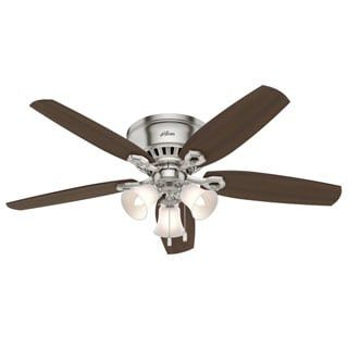 Shop for Hunter Builder Deluxe Brushed Nickel 52-inch Ceiling Fan with 5 Brazilian Cherry/Harvest Mahogany Reversible Blades. Get free shipping at Overstock.com - Your Online Home Decor Outlet Store! Get 5% in rewards with Club O! - 18759846