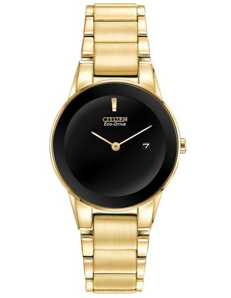 Citizen Eco-Drive Ladies Axiom - Gold-Tone IP Bracelet & Case - Black Dial