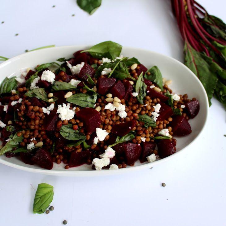 Beetroot & Lentil Salad Recipe Salads with baby beets, brown lentils, balsamic vinegar, olive oil, pinenuts, basil leaves, goat milk feta, pepper, salt