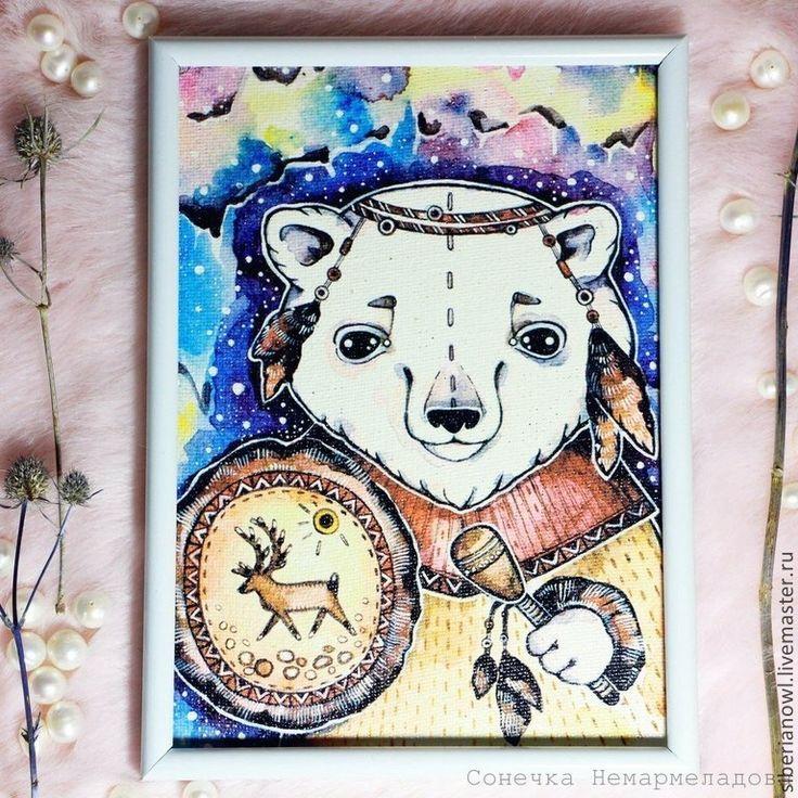 Мишки на Севере.Рисунок на холсте. Этно стиль - фиолетовый,рисунок,рисунок на заказ