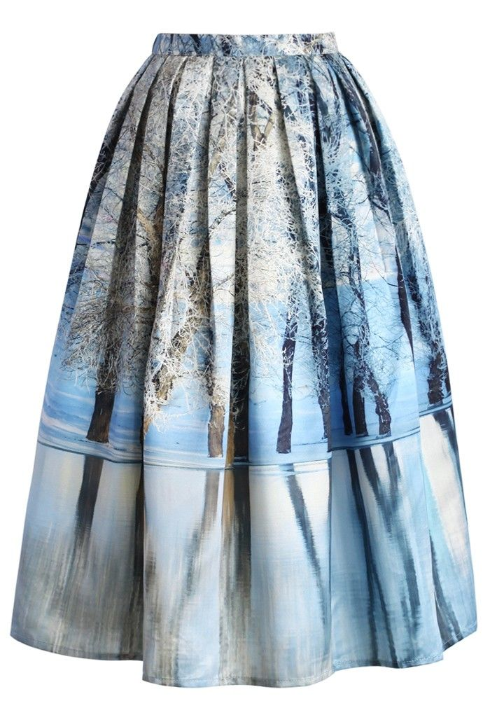 Blue Icy Forest Pleated Midi Skirt   #USTrendy  www.ustrendy.com