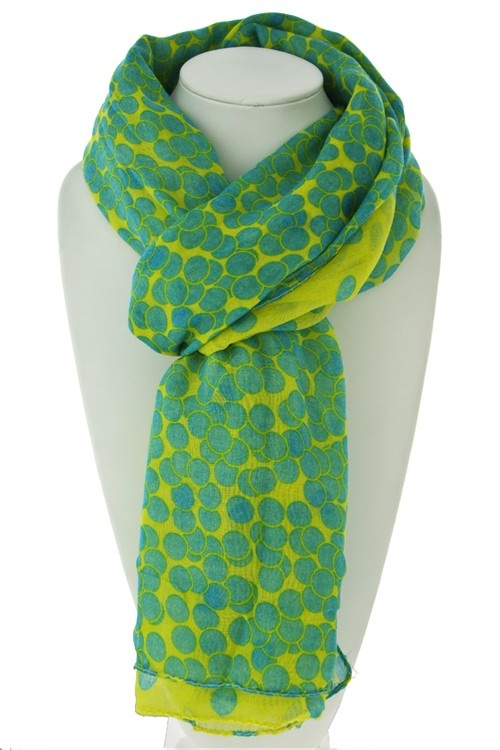 "Aurora Kingdom Polka Dot Scarf!  Here is another great versatile accessory from Aurora Kingdom! This gorgeous piece is suitable for either a scarf or a sarong for a day at the beach. Measures an impressive 43"" x 72"", 100% Polyester, and available in Yellow, Mint or Peach. $15.99"