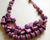 hand made pink and purple wooden beaded necklace