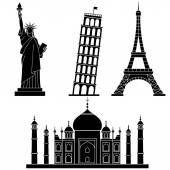 Mundo puntos de referencia la estatua de la libertad, Torre Eiffel, torre de Pisa, Taj Mahal. Conjunto de vectores iconos planos — Ilustración de stock #142585237