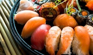 Hibachi menu with meats and veggies grilled tableside is supplemented by a sushi menu with 27 specialty rolls