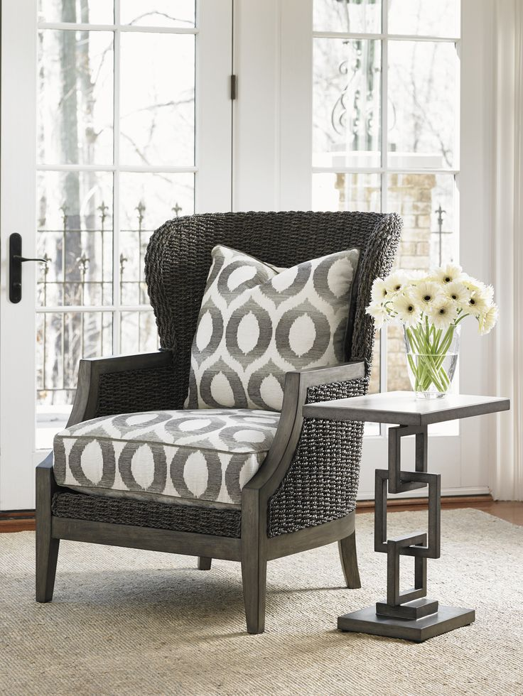doing two in master bedroom in our sitting area lexington oyster bay seaford woven wing chair and deerwood side table