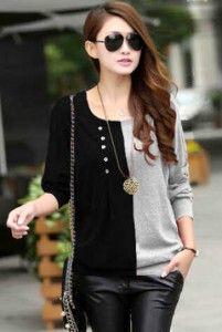 Jesslyn Black Combie Grey Bahan: Kaos Spandek Size: Fit L, Lebar dada/panjang: 45/65cm Kode Produk: T4908 Harga: Rp. 48.000