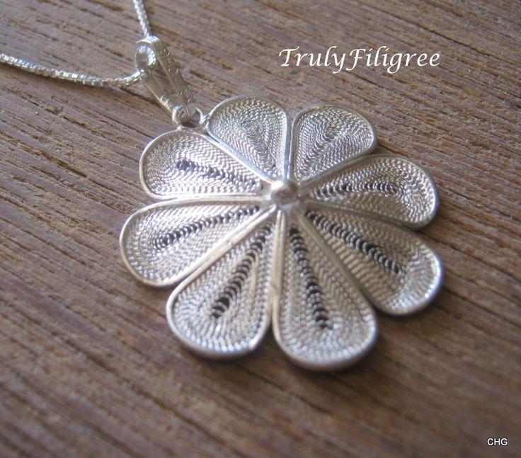 Handmade Silver Filigree Pendant,Unique Pendant,Silver Pendant,Filigree Pendant,