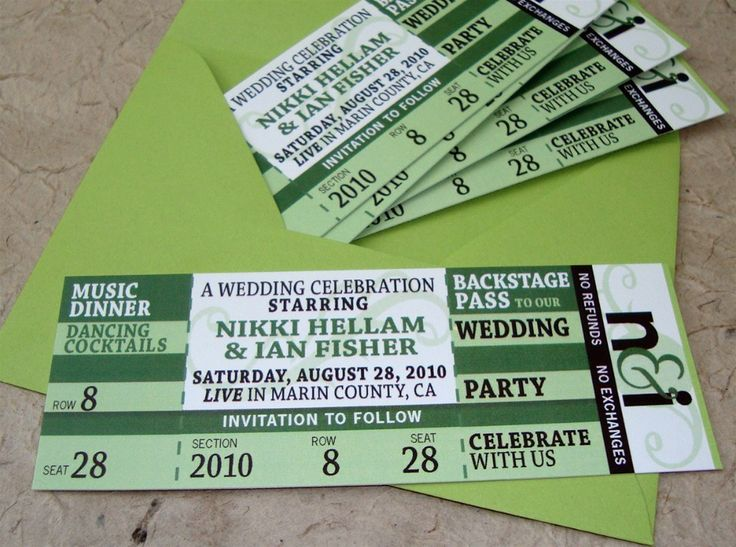 13 best Wedding Invitations images on Pinterest Cards - concert ticket invitations