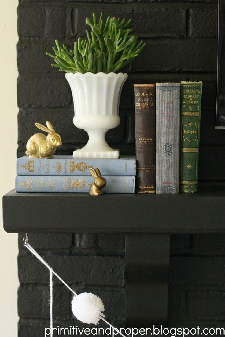 Top 100 mantel decorating ideas for thanksgiving image - Spring Mantle With Vintage Touches And Live Greens Brass Bunnies Vintage Books
