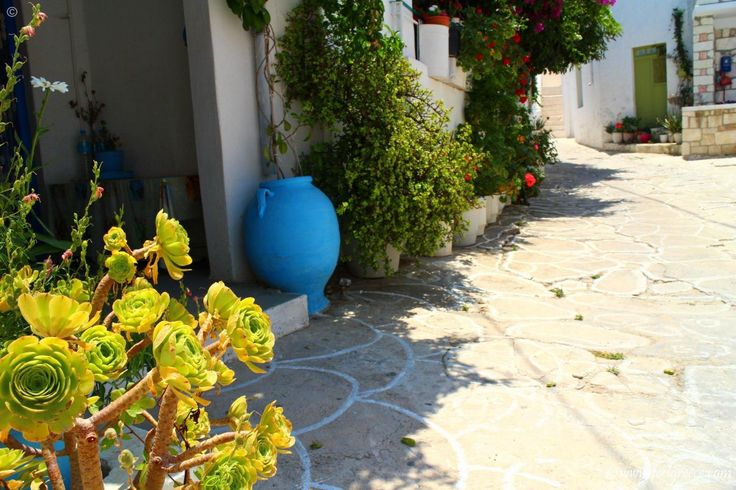 The inner streets of Kimolos Chora - village with traditional houses and a venetian fortress
