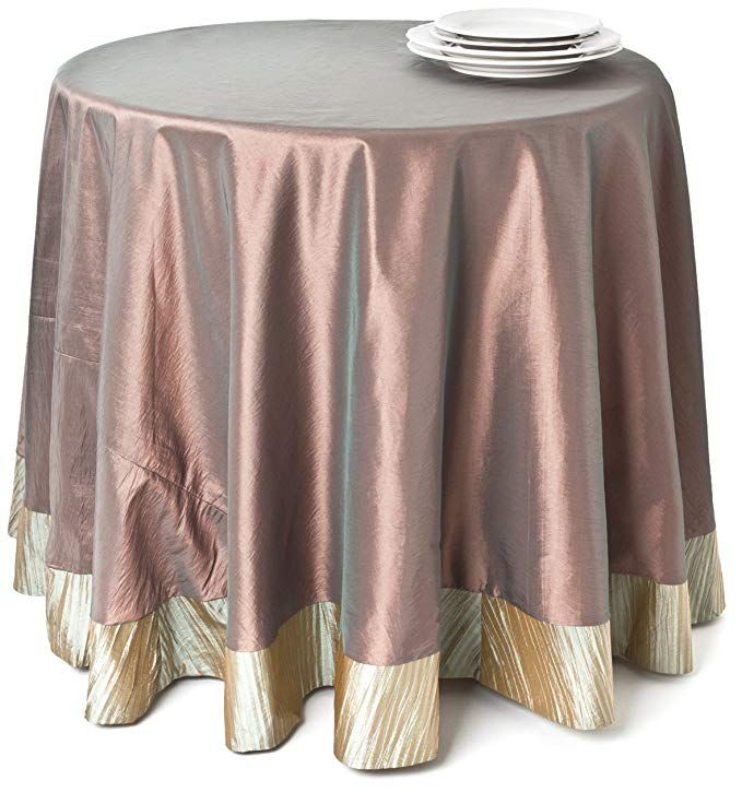 Saro Lifestyle 4758 Luminous Round Tablecloth 90 Inch Bronze Review Table Cloth Round Tablecloth Tablecloths For Sale