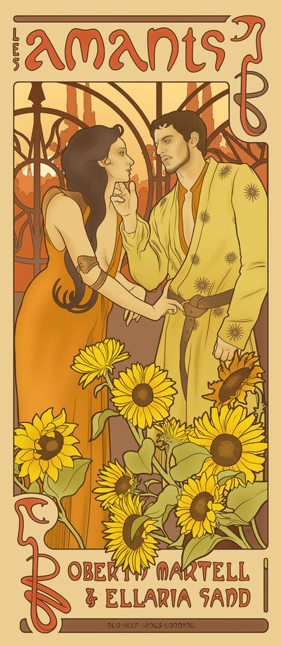 Oberyn Martell and Ellaria Sand - The Lovers (by ElinJ in the style of Alphonse Mucha)