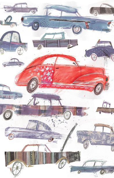 Cards, prints and wrap by Laura Hughes, via Behance