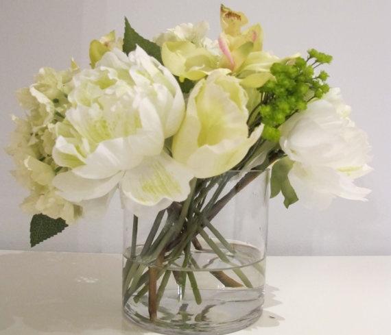 100 Faux White Peonies Tulips Hydrangea Green