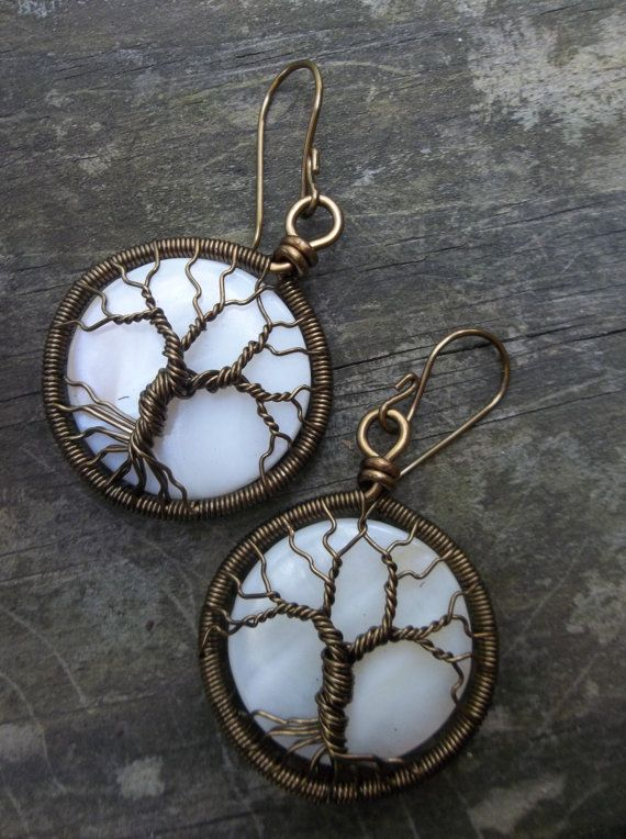 Wire Wrapped Tree of Life Earrings by alexart on Etsy, $40.00