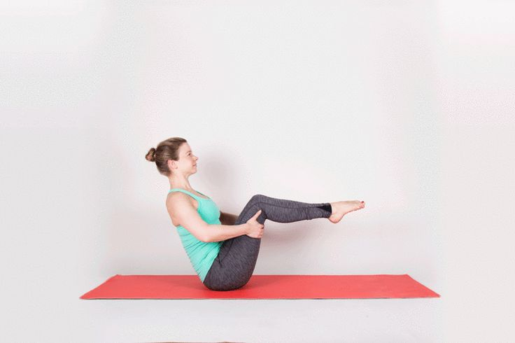 Boat Pose -- How to do it: Sit with knees bent. Place hands underneath knees. Tip back on the sitz bones and draw lower back in and up as you hug abdominals toward spine. Lift shins parallel to the floor. Then stretch arms forward. Finally, straighten knees if you can.  #yoga #ShermanFinancialGroup