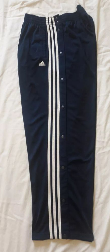 new concept 1112a 8425c Adidas Men SZ Large Navy Blue Three Stripe Tear Away Snap Button Athletic  Pants  adidas  Pants
